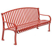 "72"" Bench Curved Top Ribbed Style - Red"