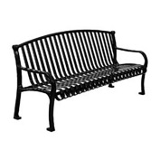"96"" Bench Curved Top Ribbed Style - Black"