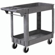 "Deluxe Small 2 Shelf Plastic Utility & Service Cart 5"" Rubber Casters"