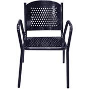 Leisure Craft Outdoor Perforated Chair with Armrests - Black