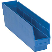 "Quantum Plastic Shelf Storage Bin - QSB203 Nestable 4-1/8""W x 17-7/8""D x 6""H Blue - Pkg Qty 20"