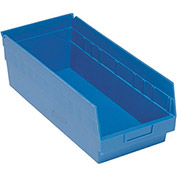 "Quantum Plastic Shelf Storage Bin - QSB208 Nestable 8-3/8""W x 17-7/8""D x 6""H Blue - Pkg Qty 10"