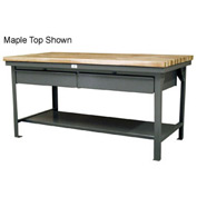 "Strong Hold 72""W x 36""D  x 34""H 2 Drawer with Maple Top Workbench"