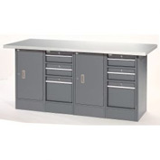 """72""""Wx 24""""D Plastic Top 6 Drawer/2 Cabinet Workbench"""