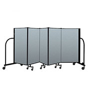 "Screenflex Portable Room Divider 5 Panel, 4'H x 9'5""L, Vinyl Color: Blue"