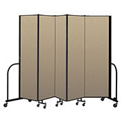 "Screenflex Portable Room Divider 5 Panel, 6'8""H x 9'5""L, Vinyl Color: Oatmeal"