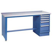 60x30 Square Plastic Pedestal Workbench with 4 Drawers