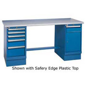 72x30 Safety Maple Pedestal Workbench with 5 Drawers & Cabinet