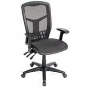 Multifunction High Back Mesh Office Chair with Arms - Fabric - Black