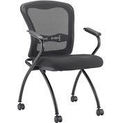 Mesh Stacking Chair with Arms - Fabric - Black - 2 Pack - Pkg Qty 2