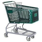 VersaCart® Green Plastic Shopping Cart 6.3 Cu. Foot Capacity 102-165-DGN-BH