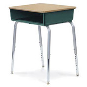 Virco® 785 Open Front Desk - Maple Top/Forest Green Book Box/Silver Frame - Pkg Qty 2