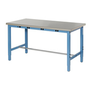 "48""W x 30""D Production Workbench with Power Apron - Stainless Steel Square Edge - Blue"