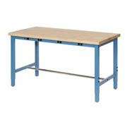 "48""W x 36""D Production Workbench with Power Apron - Maple Butcher Block Safety Edge - Blue"