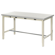 "72""W x 36""D Production Workbench with Power Apron - Plastic Laminate Square Edge - Tan"