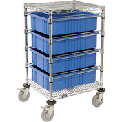 "21X24X45 Chrome Wire Cart With 4 6""H Grid Containers Blue"
