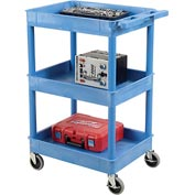 Luxor® BUSTC111BU Blue 3 Shelf Tray Shelf Plastic Cart 24 x 18
