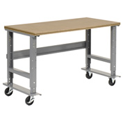 "48""W x 30""D Mobile Workbench - Shop Top Square Edge - Gray"