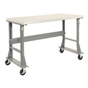 "48""W x 30""D Mobile Workbench - Plastic Laminate Square Edge - Gray"
