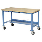 "60""W x 24""D Mobile Packaging Workbench with Power Apron - Maple Butcher Block Square Edge - Blue"