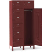 Penco 6575V736 Vanguard 7 Person Locker 36x21x72 Ready To Assemble Burgundy