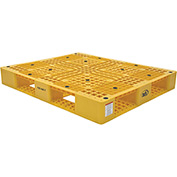 Stackable Plastic Pallet 39-1/2x47-3/8x6, 6600 lb Floor & 2200 lb Fork Cap.Yellow