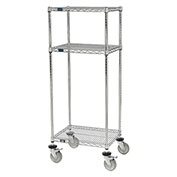 "Nexel™ 3-Shelf Chrome Wire Shelf Mobile Printer Stand, 24""W x 18""D x 59""H"