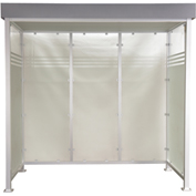 "Bus Smoking Shelter Deluxe Flat Roof With Three Sided Open Front 8'9"" x 4'2"""