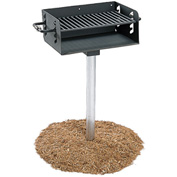 """ADA Rotating Pedestal Outdoor Grill With 3-1/2"""" Dia. Post(300 Sq. In. Cooking Surface)"""