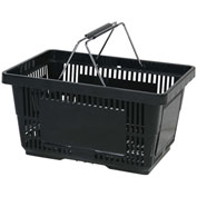 VersaCart ® Black Plastic Shopping Basket 28 Liter With Black Plastic Grips Wire Handle - Pkg Qty 12