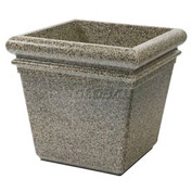 "Concrete Stone Tec Outdoor Planter, 19"" Square Riverstone"