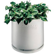 """Plastic Outdoor Planter With Water Dish, 22"""" Round White"""