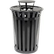 Global™ Outdoor Metal Slatted Trash Receptacle with Rain Bonnet Lid - 36 Gallon Black