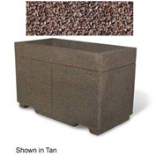 "Concrete Outdoor Planter w/Forklift Knockouts, 48""Lx24""Wx30""H Rectangle Red Quartzite"