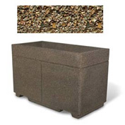 "Concrete Outdoor Planter w/Forklift Knockouts, 48""Lx24""Wx30""H Rectangle Tan River Rock"