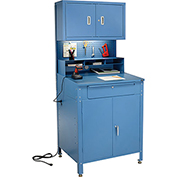 "Shop Desk w Lower Cabinet and Pigeonhole Compartments w Upper Cabinet 34-1/2""W x 30""D x 80""H"