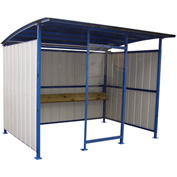 "Steel Smokers Shelter With Clear Front Panel and Wooden Bench Rail 120""x96""x91"""
