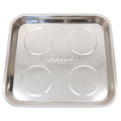 "11"" Square Stainless Steel Magnetic Tray - Pkg Qty 12"