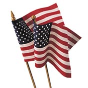8 in. X 12 in. Cotton Muslin U.S. Flag Mounted To  Wood Staff, Pack of 12