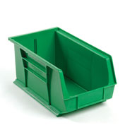 Global™ Plastic Stackable Bin 8-1/4 x 14-3/4 x 7, Green - Pkg Qty 12