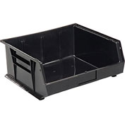 Global™ Plastic Stacking Bins - Parts Storage Bin 16-1/2 x 14-3/4 x 7, Black - Pkg Qty 6