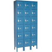 Paramount® Locker Six Tier 12x18x12 18 Door Assembled Blue