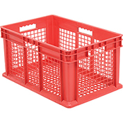 "Akro-Mils Straight Wall Container 37612 Mesh Sides & Base 23-3/4""L x 15-3/4""W x 12-1/4""H, Red - Pkg Qty 3"
