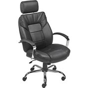Big and Tall Executive Chair with Headrest - Leather - High Back - Black