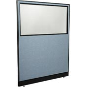 """Interion™ Office Partition Panel with Partial Window & Pass-Thru Cable, 60-1/4""""W x 76""""H, Blue"""