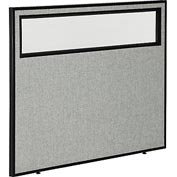 """Interion™ Office Partition Panel with Partial Window, 48-1/4""""W x 42""""H, Gray"""