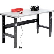 "60""W X 30""D ESD Square Edge Workbench - Adjustable Height - Black"
