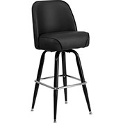 Swivel Barstool - Vinyl - Black