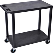 Luxor® EC22-B Black 2-Flat Shelf Cart 35-1/4 x 18 400 Lb. Cap.
