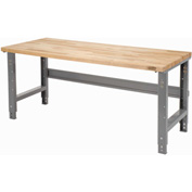 "48""W X 30""D Square Edge Birch Butcher Block Work Bench - Adjustable Height - Gray"